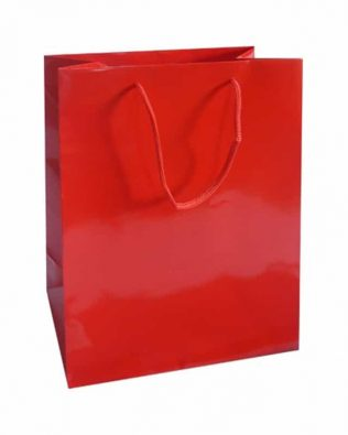 Lot de 20 sacs cabas rouges brillants 12+7×15 cm
