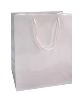 Lot de 20 sacs cabas blancs brillants