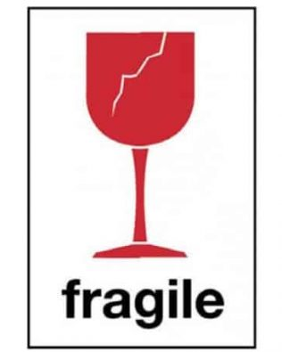"Lot de 4 étiquettes "" fragile"""